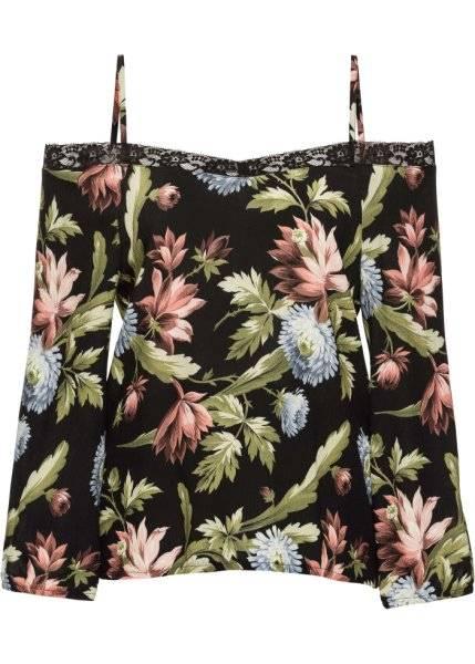 500e9565163 Блузка-кармен с кружевом (черный в цветочек) bonprix (91097795) для ...